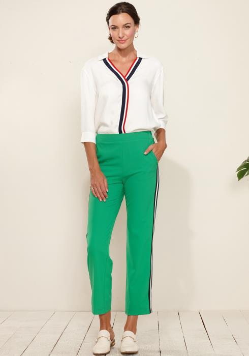 Plus Size Striped Side Binding Pants