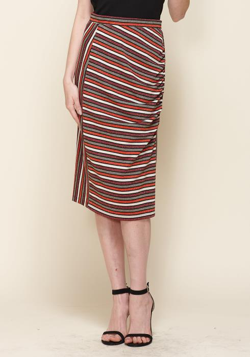 Gathered Multi Print Midi Skirt
