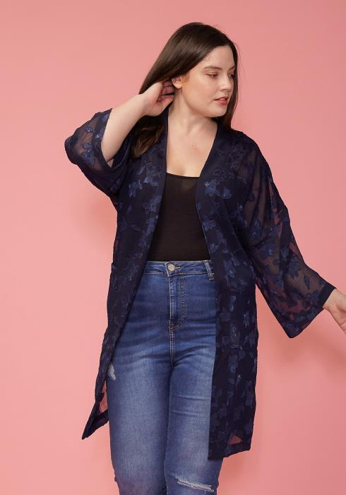 Pleione Plus Size Sheer Floral Embossed Robe Cardigan