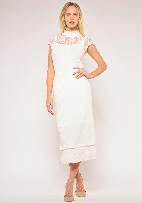 Pleione Lace Hem Ribbed Pencil Skirt