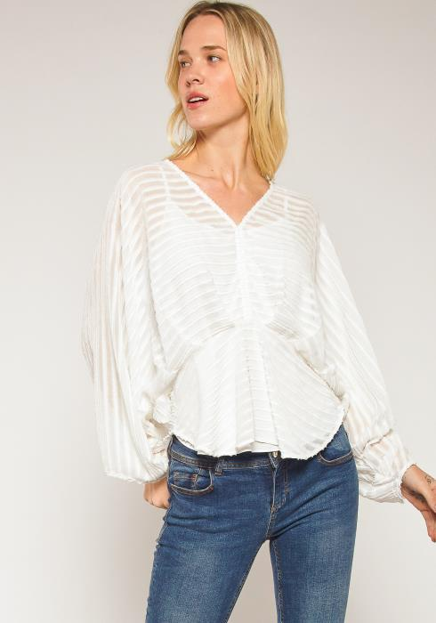 Pleione Plus Size Stripe Chiffon Loose Blouse