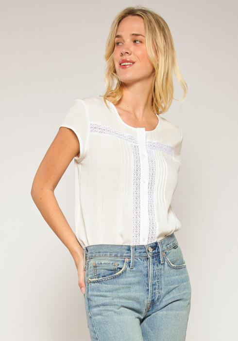 Pleione Plus Size Lace Trim Button Down Blouse