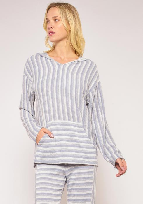 Pleione Plus Size Multi Stripe Loose Hoodie