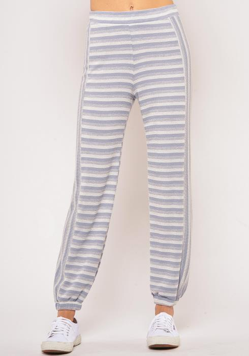 Pleione Plus Size Multi Stripe Cuffed Sweatpants
