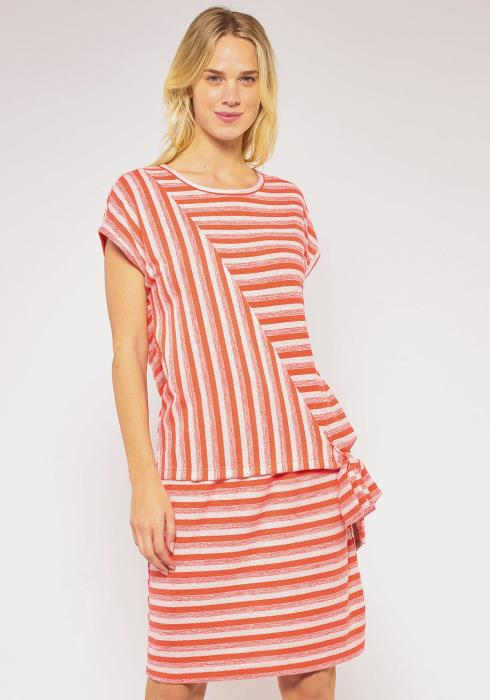 Pleione Plus Size Multi Stripe Tie Hem Top