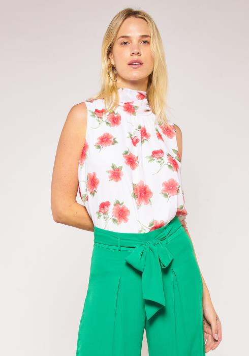 Pleione Plus Size Floral Mock Neck Tied Back Chiffon Blouse