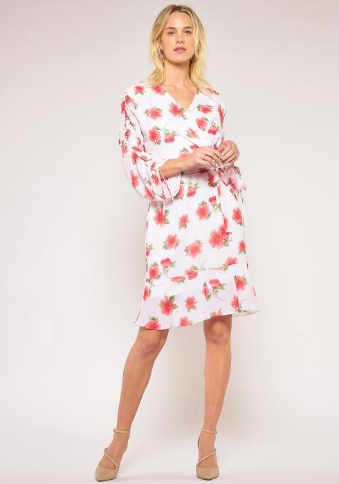 Pleione Floral Gathered Sleeve Wrap Dress