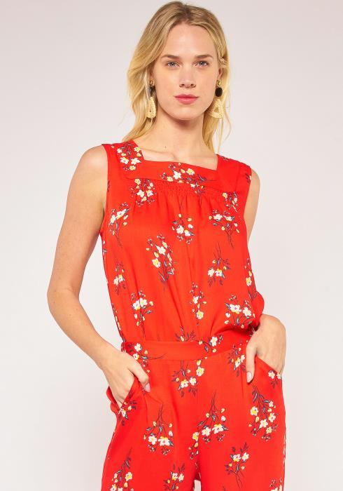 Pleione Plus Size Square Neck Floral Sleeveless Blouse