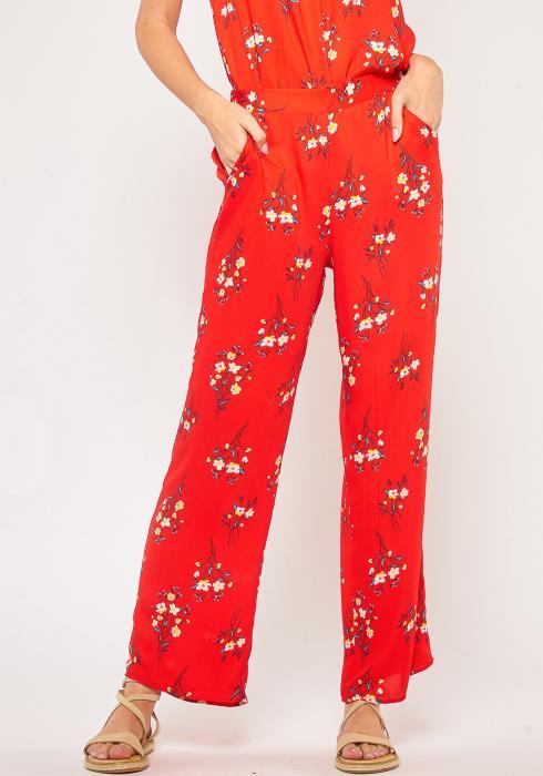 Pleione Plus Size Floral Pants With Pocket