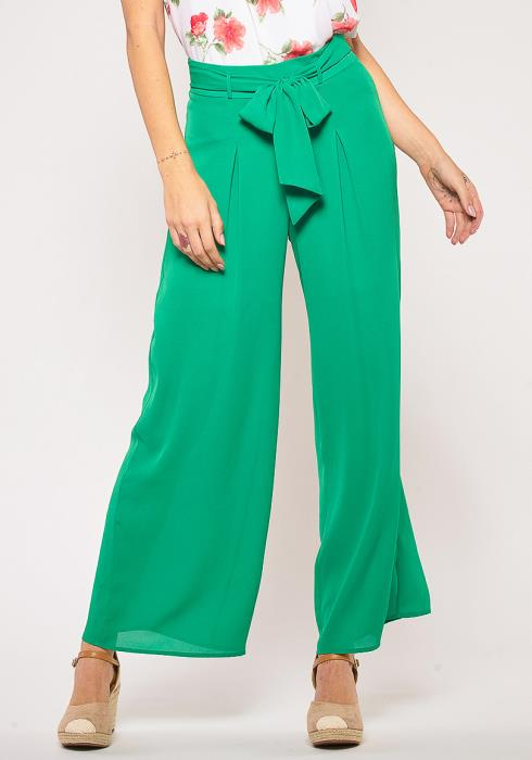 Pleione Front Ribbon Tie Wide Pants
