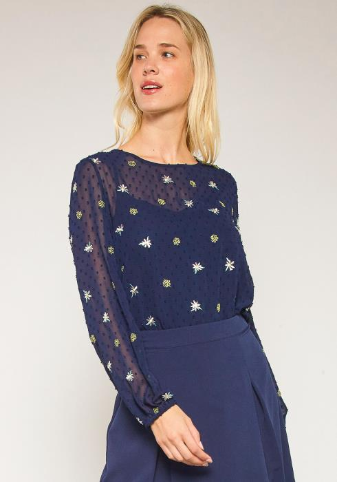 Pleione Plus Size Sheer Dotted Long Sleeve Blouse