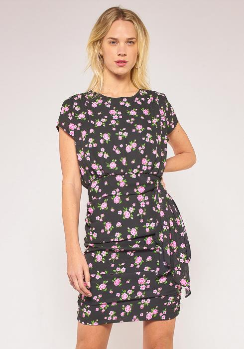 Pleione Plus Size Floral Side Tie Gathered Dress