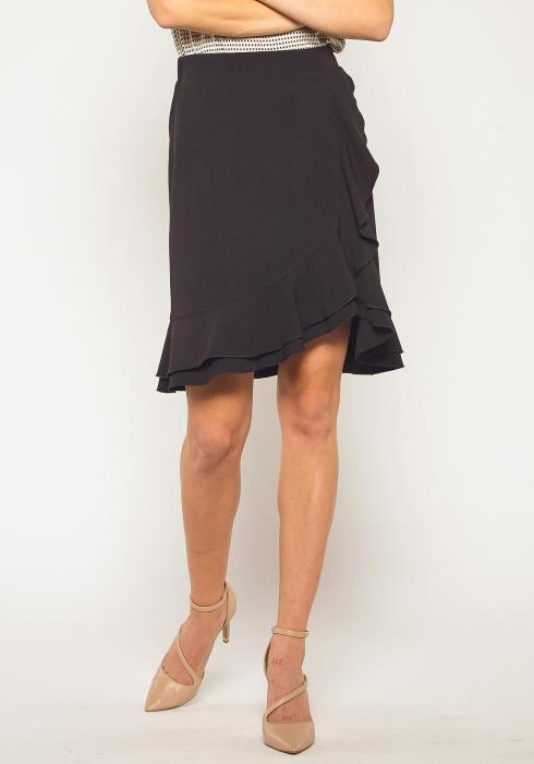 Pleione Side Gathered Ruffle Hem Skirt