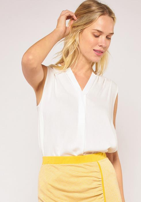 Pleione Plus Size Sleeveless Pleated Shoulder Blouse