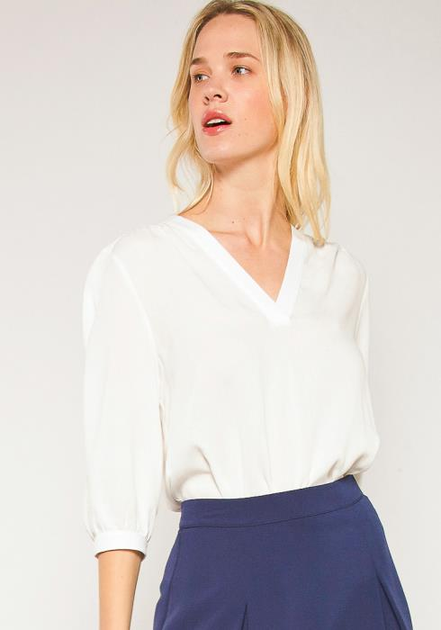 Pleione Plus Size V-Neck 3/4 Sleeve Blouse