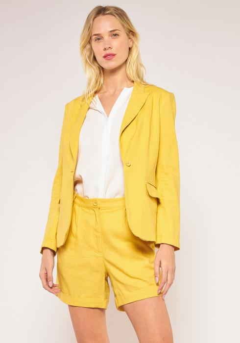 Pleione Plus Size Single Button Linen Blazer