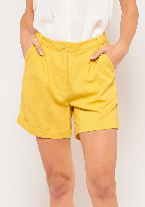 PleionePlus Size Linen Shorts With Pockets