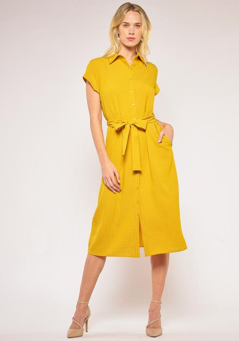 Pleione Button Down Tie Waist Shirt Dress