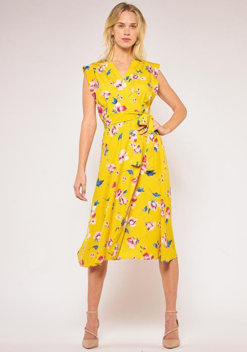 Pleione Tie Waist Wrap Midi Dress
