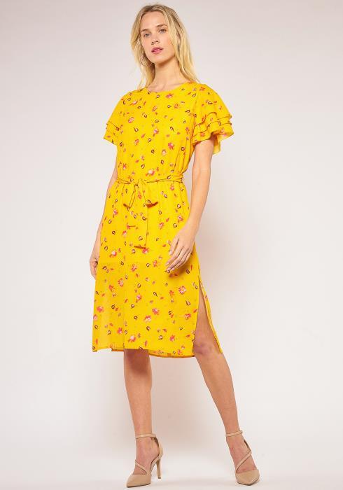 Pleione Layered Short Sleeve Tie Waist Dress