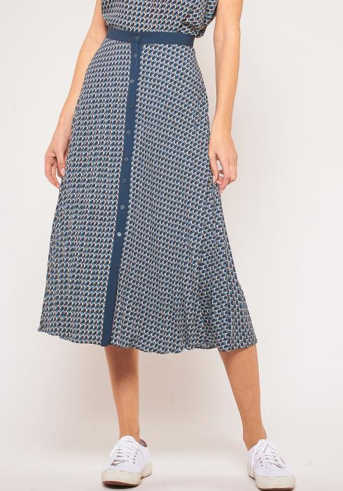 Pleione Plus Size Printed Front Button Midi Skirt