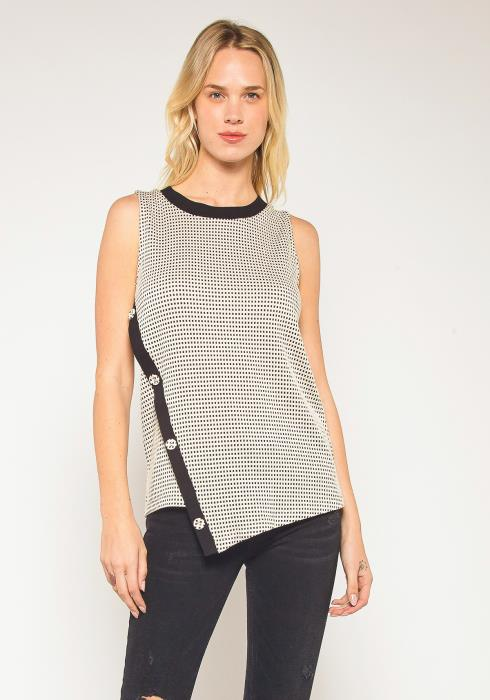 Pleione Plus Size Sleeveless Slant Button Top