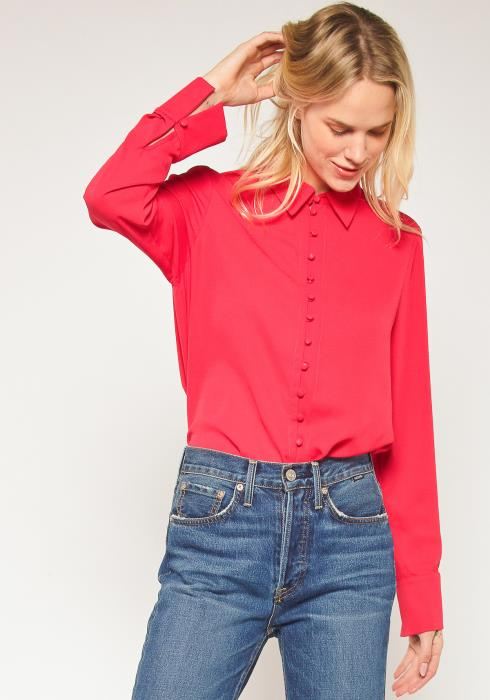 Pleione Plus Size Button Down Long Sleeve Blouse